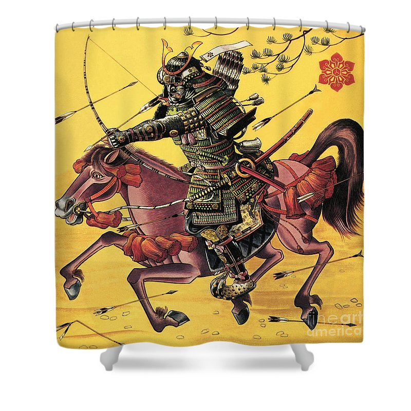 Firing Shower Curtain featuring the painting The War Lords Of Japan by Dan Escott