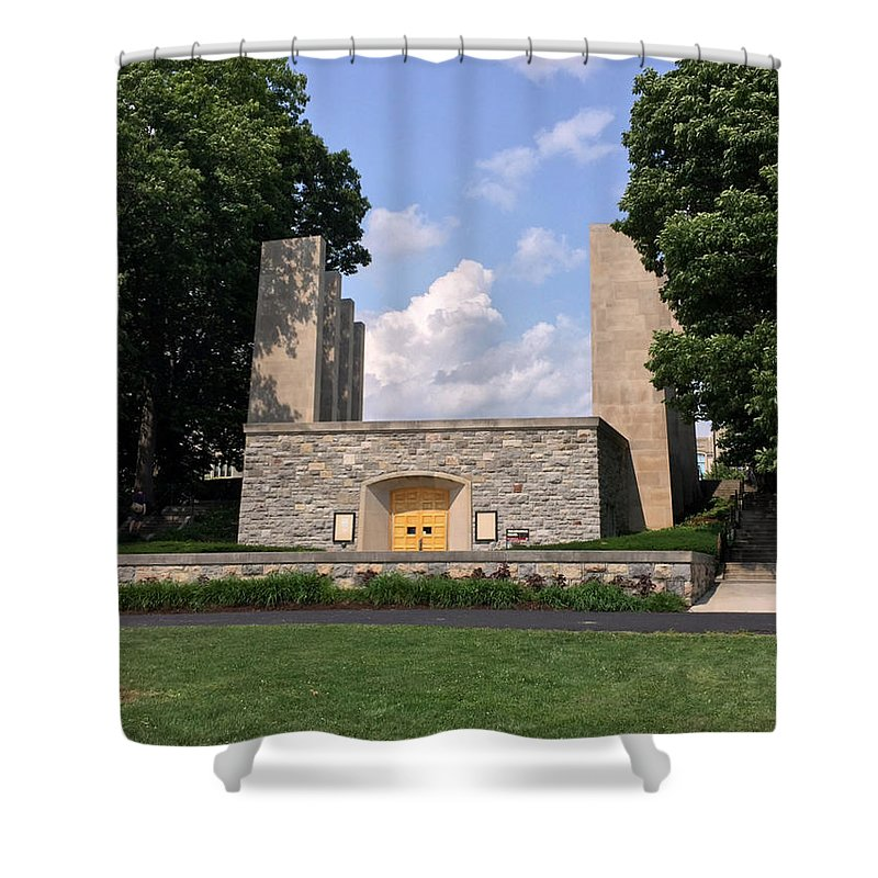 Virginia Shower Curtain featuring the photograph The War Memorial Chapel At Virginia Tech by Andrew Webb