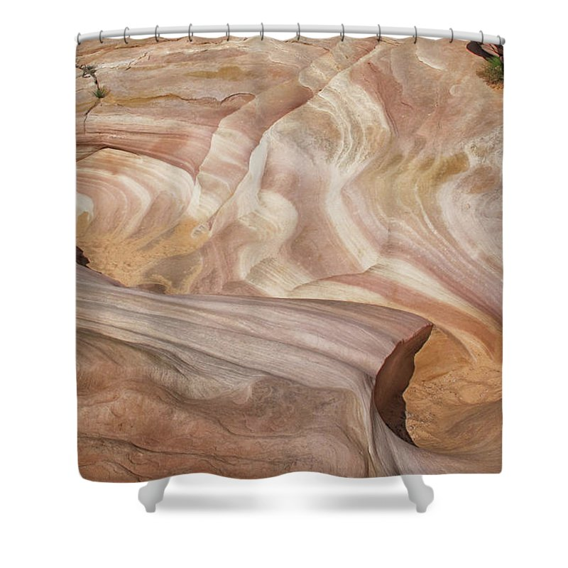 Rock Shower Curtain featuring the photograph The Wash 1879 by Karen Celella