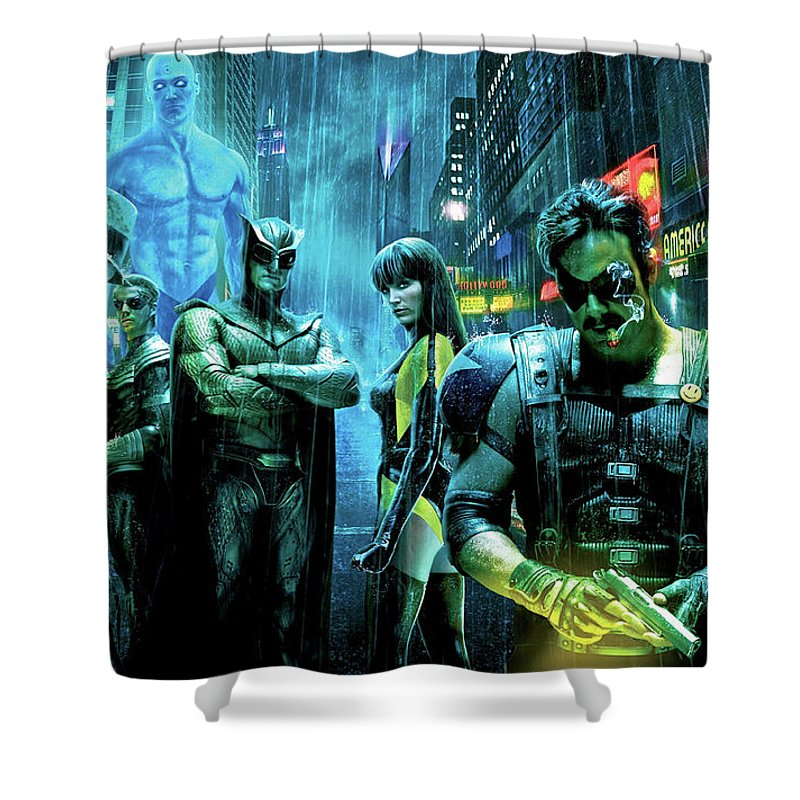 The Watchmen Shower Curtain featuring the photograph The Watchmen,nite Owl, Silk Spectre II, Roschach, Dr. Manhattan, Ozymandias, The Comedian by Thomas Pollart