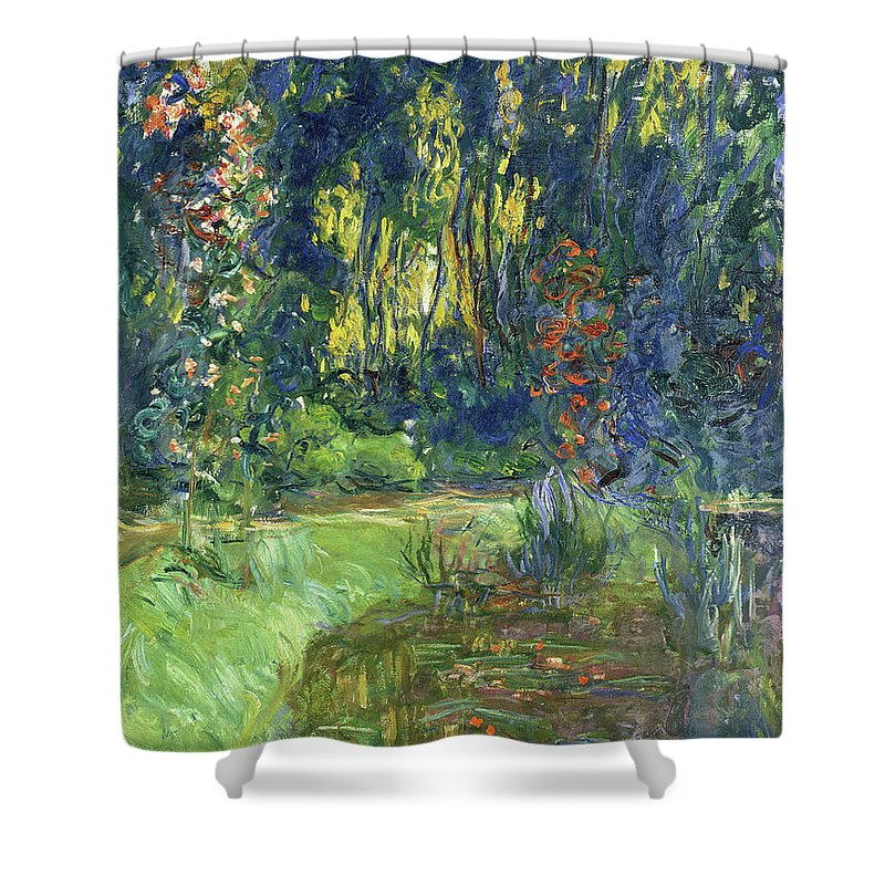 Blue Shower Curtain featuring the painting The Water-lily Pond At Giverny by Claude Monet