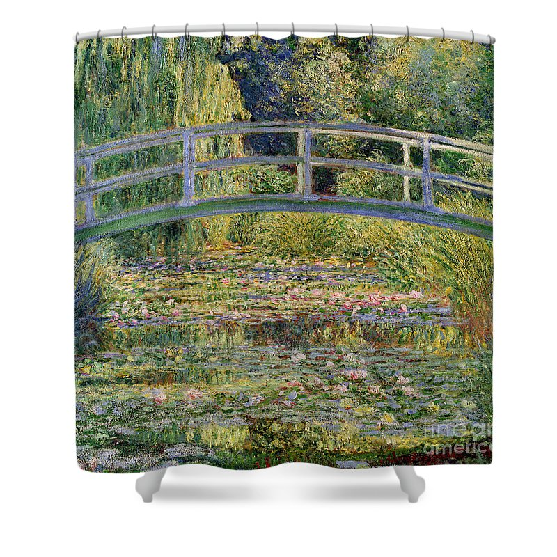 The Shower Curtain featuring the painting The Waterlily Pond With The Japanese Bridge by Claude Monet