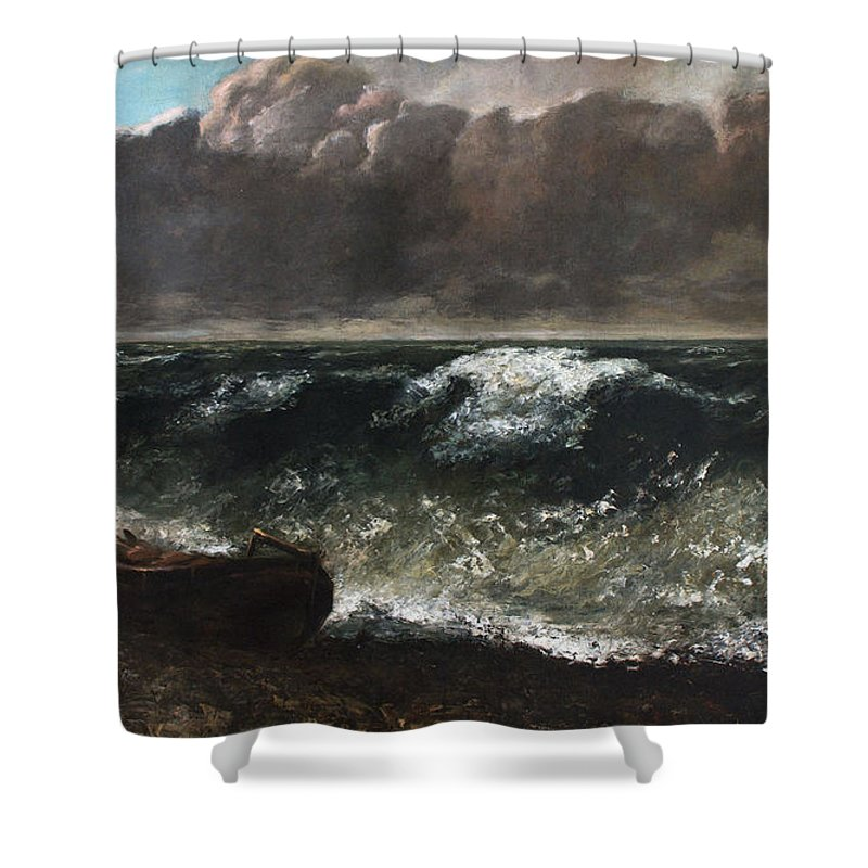Bay Shower Curtain featuring the painting The Wave 1869 1 by Gustave Courbet