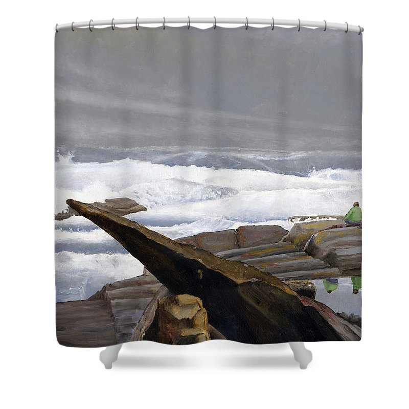 Waves Shower Curtain featuring the painting The Wave Watchers by Dominic White