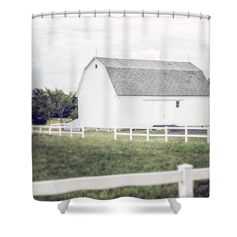 White Decor Shower Curtain featuring the photograph The White Barn by Lisa Russo