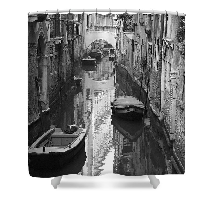 Venice Shower Curtain featuring the photograph The White Bridge by Donna Corless