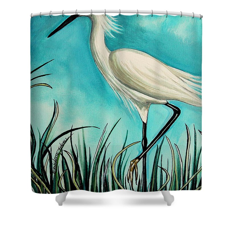 Bird Shower Curtain featuring the painting The White Egret by Elizabeth Robinette Tyndall