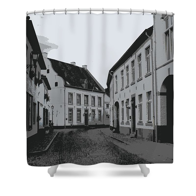 Gray And White Shower Curtain featuring the photograph The White Village - Digital by Carol Groenen