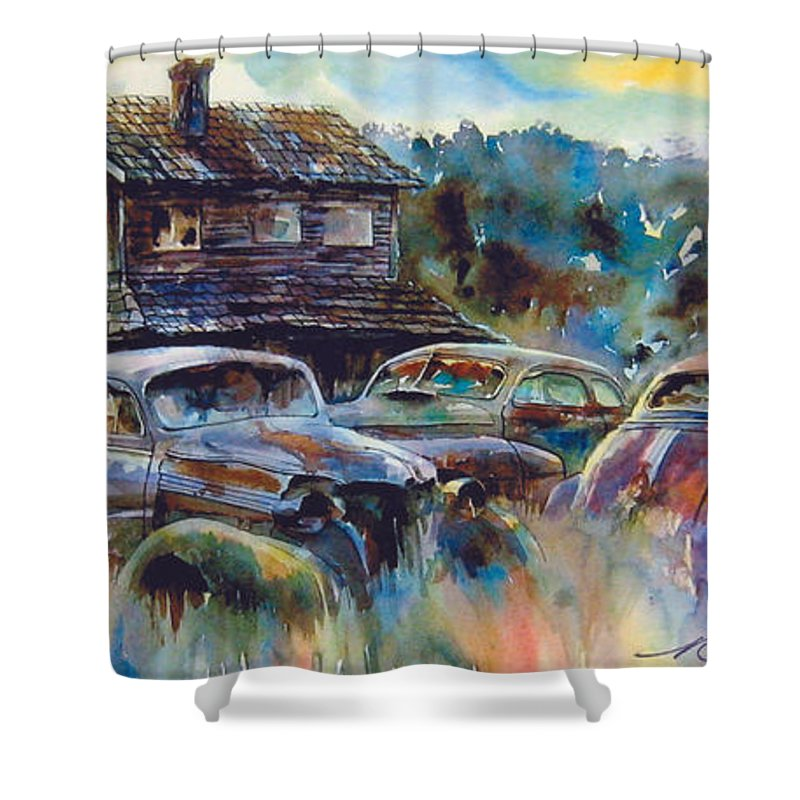 Old Rusty Dilapidated Cars House Shower Curtain featuring the painting The Wide Spread by Ron Morrison