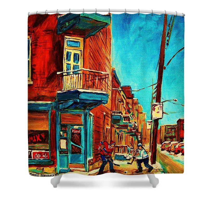 Wilenskys Doorway Shower Curtain featuring the painting The Wilensky Doorway by Carole Spandau