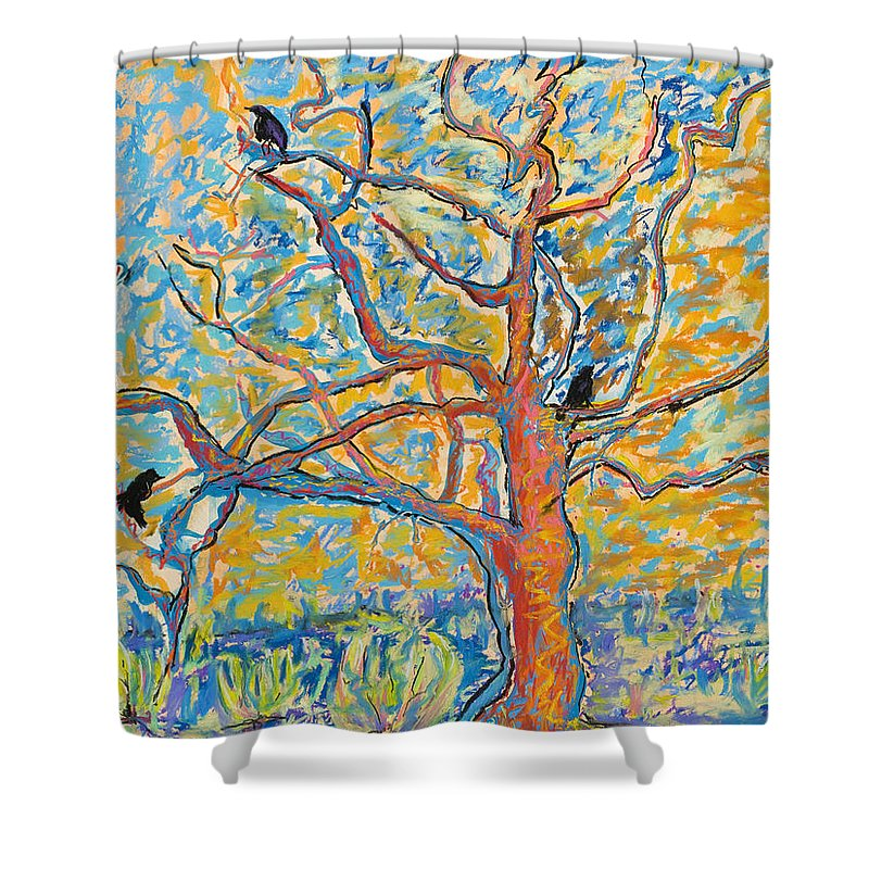 Abstract Painting Shower Curtain featuring the mixed media The Wind Dancers by Pat Saunders-White