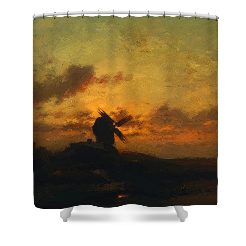 The Shower Curtain featuring the painting The Windmill 1859 by Dupre Jules
