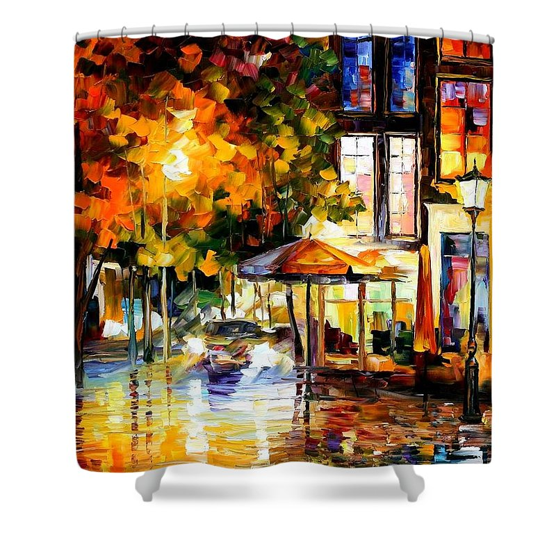 Afremov Shower Curtain featuring the painting The Windows of Amsterdam by Leonid Afremov