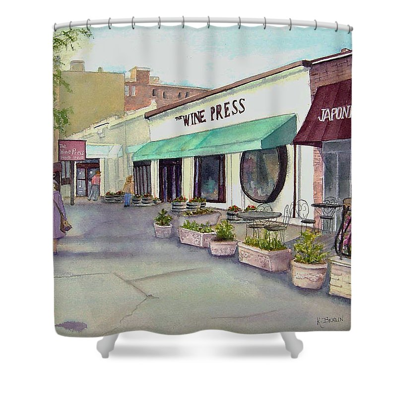 Liquor Store Shower Curtain featuring the painting The Wine Press by Katherine Berlin