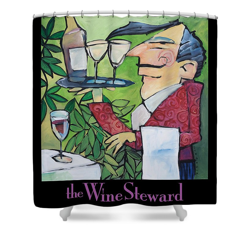 Wine Shower Curtain featuring the painting The Wine Steward - Poster by Tim Nyberg