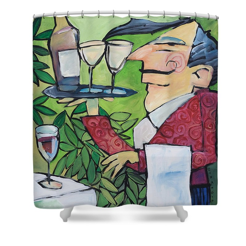 Wine Shower Curtain featuring the painting The Wine Steward by Tim Nyberg