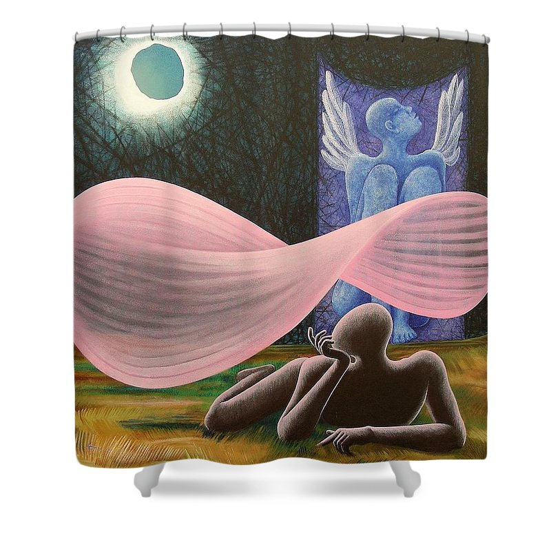 Romantic Shower Curtain featuring the painting The Wings by Raju Bose