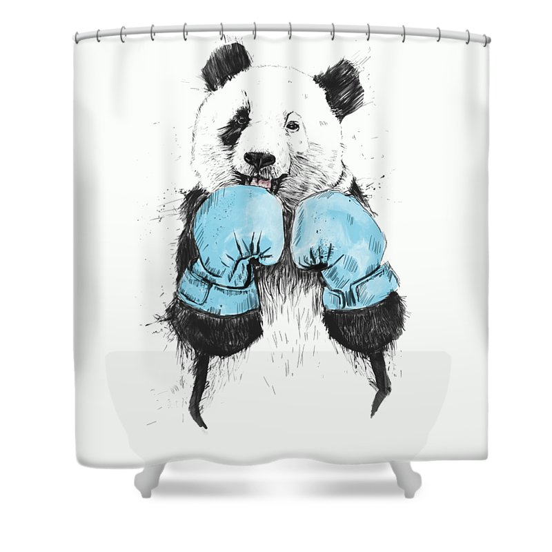 Panda Shower Curtain featuring the digital art The Winner by Balazs Solti