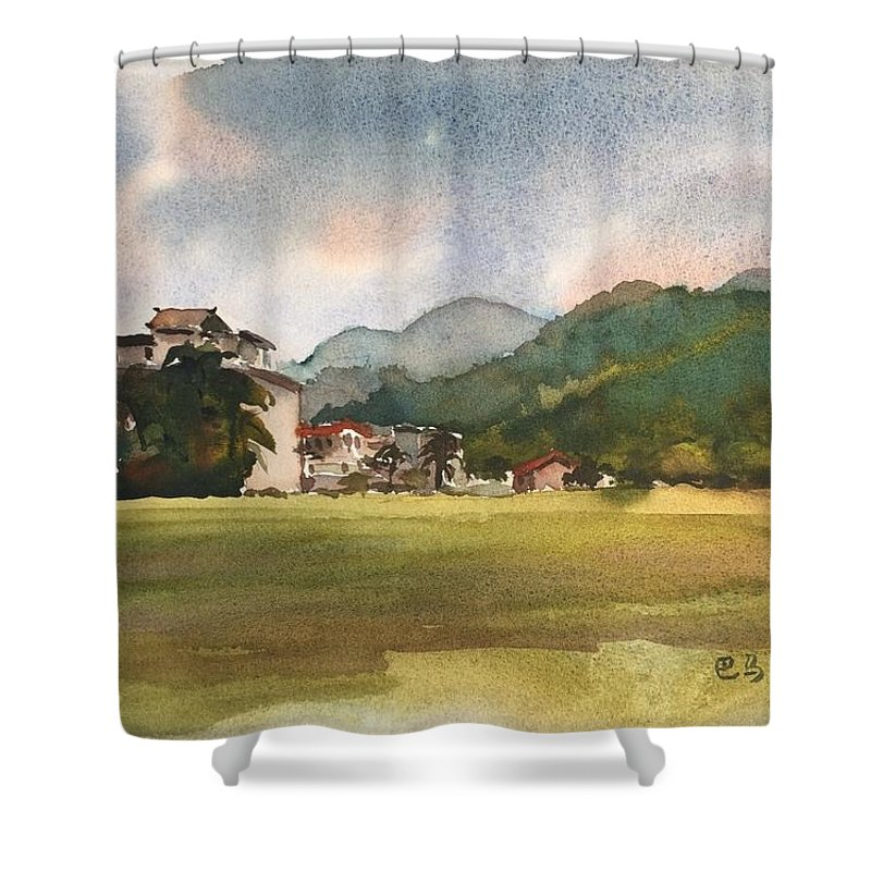 The Tropical Area In Winter Shower Curtain featuring the painting The Winter In Bama by Ken Bao--Fine Art Spring