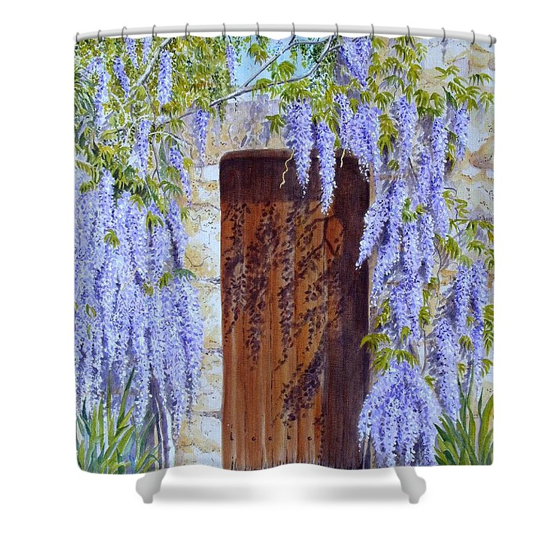 Wisteria Shower Curtain featuring the painting The Wisteria Gate by Frances Evans