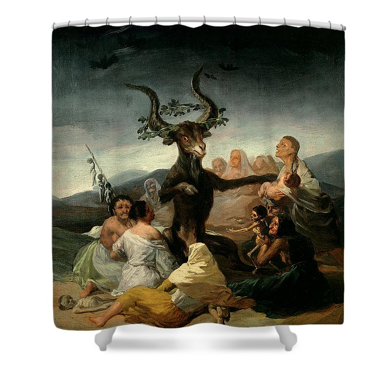 The Shower Curtain featuring the painting The Witches' Sabbath by Goya