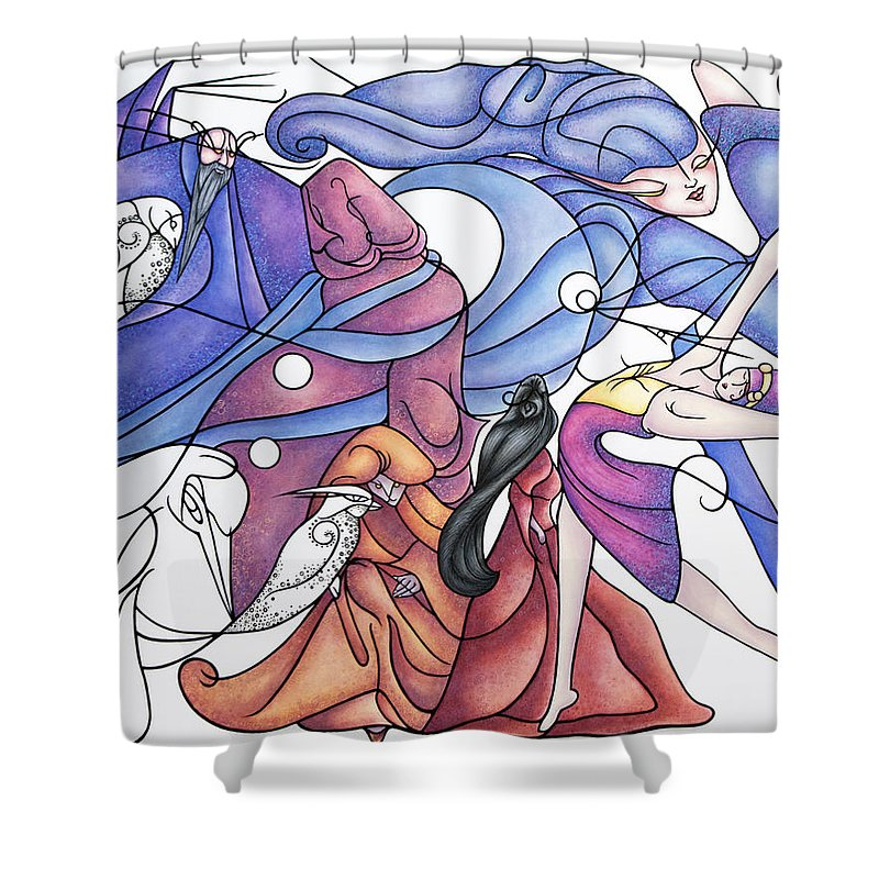 Wizard Shower Curtain featuring the painting The Wizards Daughter by Judy Henninger