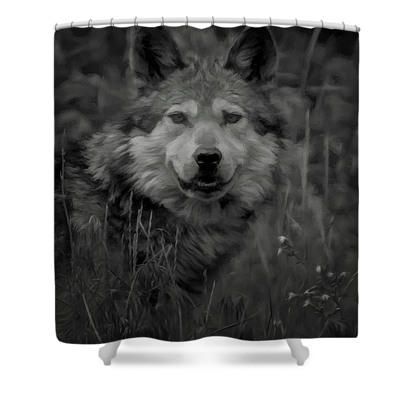 Wolf Shower Curtain featuring the digital art The Wolf Bw by Ernie Echols