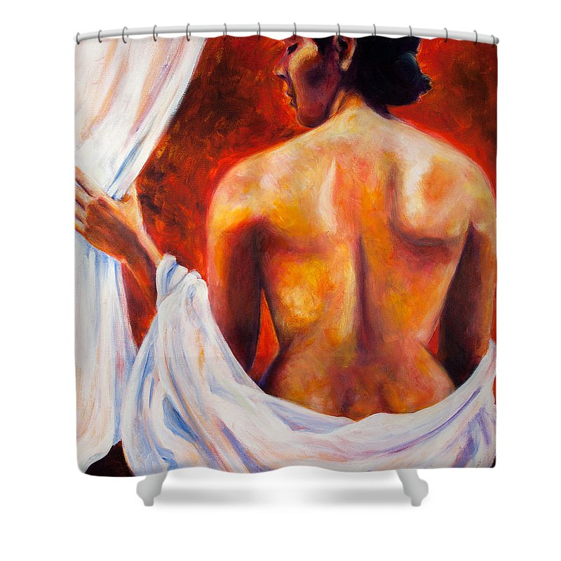 Nude Shower Curtain featuring the painting The World At Bay by Jason Reinhardt