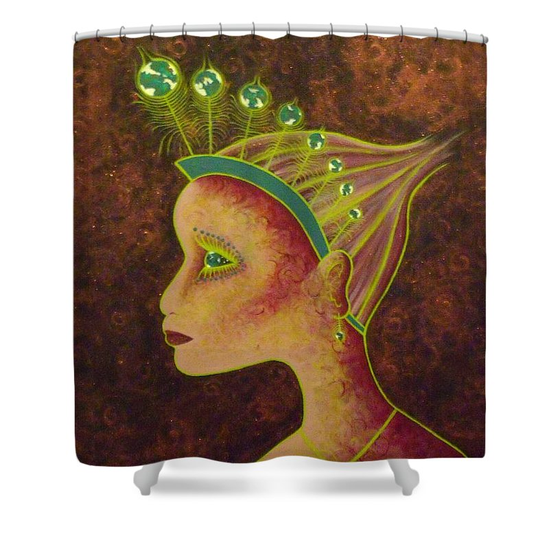 Peacock Shower Curtain featuring the painting The World I Know by Stefanie Beauregard