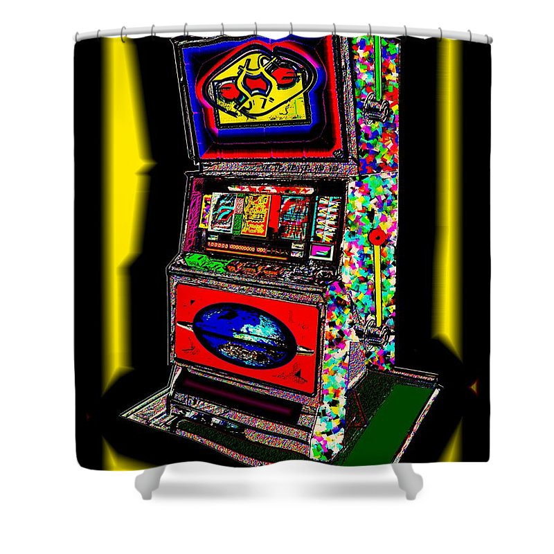 Greed Shower Curtain featuring the digital art the World-Trade-Slot-Machine by Helmut Rottler