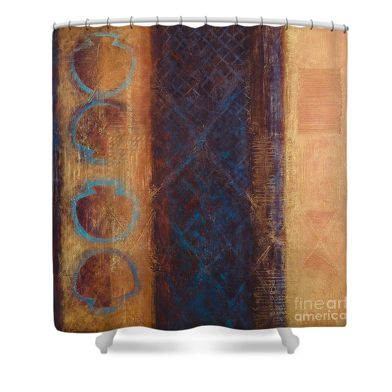 Abstract Shower Curtain featuring the painting The X Factor Alchemy of Consciousness by Kerryn Madsen-Pietsch