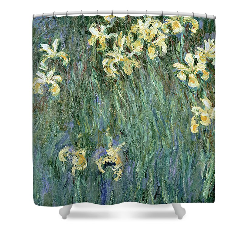 The Shower Curtain featuring the painting The Yellow Irises by Claude Monet