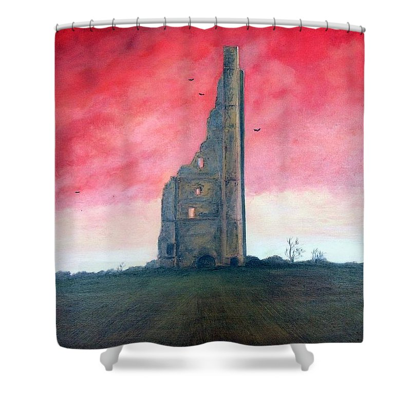 Painting Of The Yellow Steeple Shower Curtain featuring the painting The Yellow Steeple by Martine Murphy