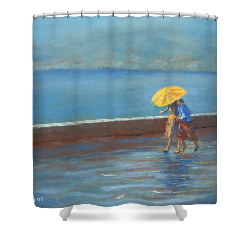 Rain Shower Curtain featuring the painting The Yellow Umbrella by Jerry McElroy