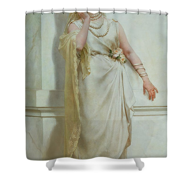 The Shower Curtain featuring the painting The Young Bride by Alcide Theophile Robaudi