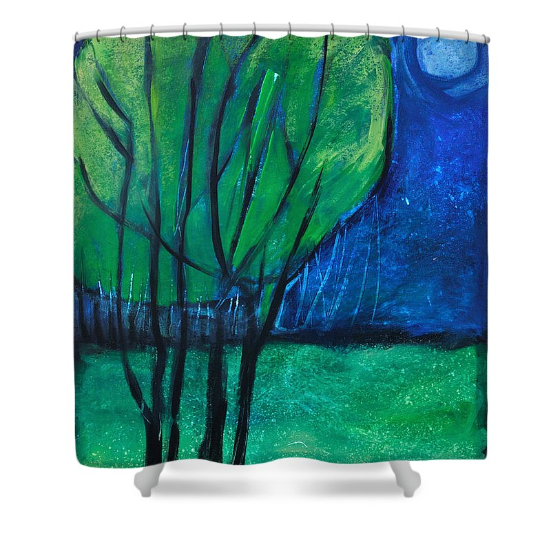 Trees Shower Curtain featuring the painting Then Came Evening by Tim Nyberg