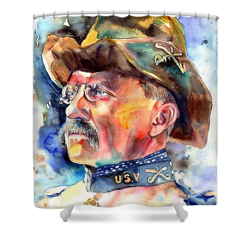 Theodore Roosevelt Shower Curtain featuring the painting Theodore Roosevelt Painting by Suzann Sines