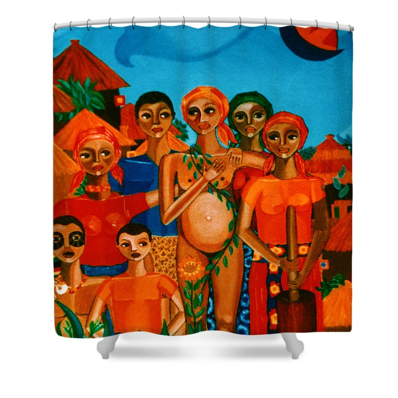 Pregnant Women Shower Curtain featuring the painting There Are Always Sunflowers For Those Waiting A New Life by Madalena Lobao-Tello