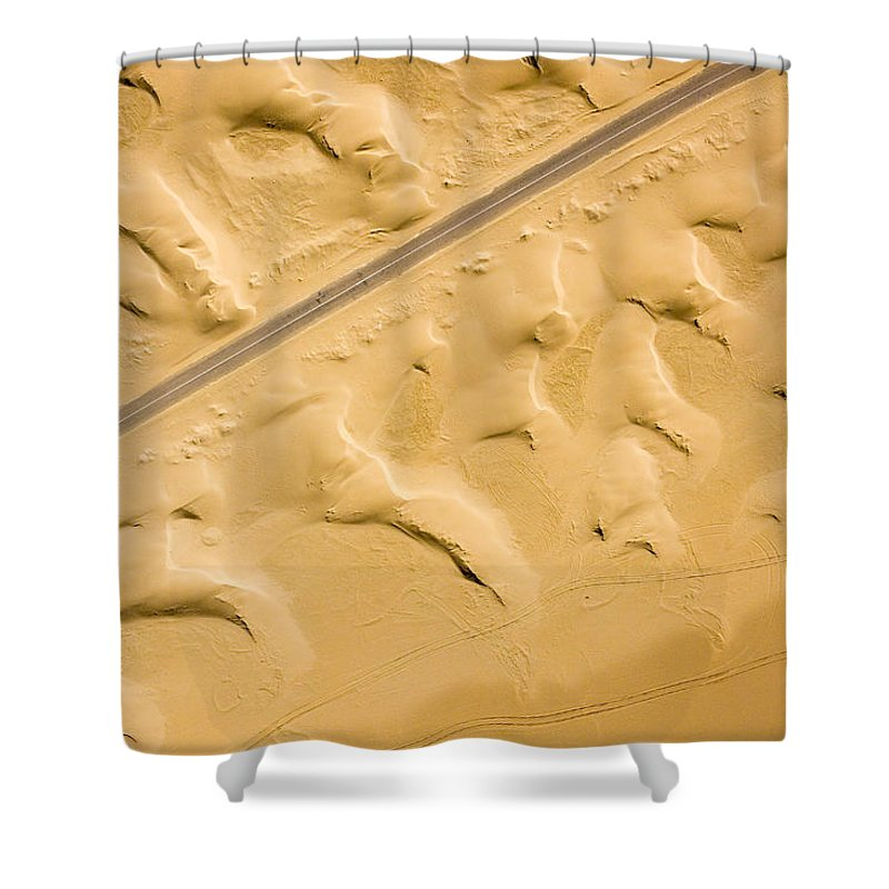 Landscape Shower Curtain featuring the photograph There Are Good Paved Roads Heading by Michael Fay
