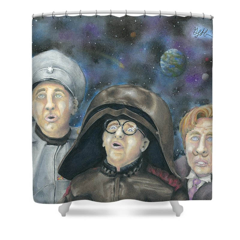 Spaceballs Shower Curtain Featuring The Drawing There Goes Planet By Geoff Hinkley