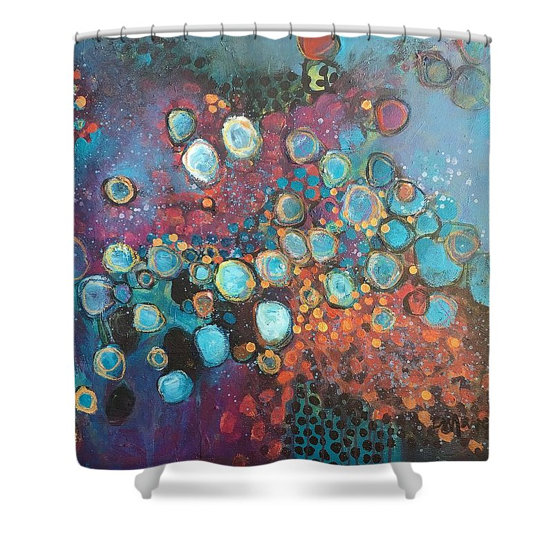 Circle Shower Curtain featuring the painting There Is Great Gratitude In The Reckoning by Laurie Maves ART