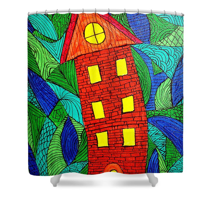 Geometric Patterns Shower Curtain featuring the painting There Was A Crooked House by Wayne Potrafka