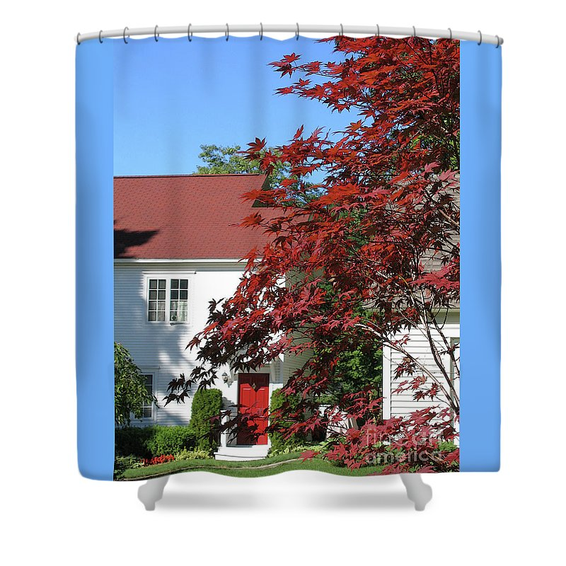 Red Shower Curtain featuring the photograph They Like Red by Ann Horn