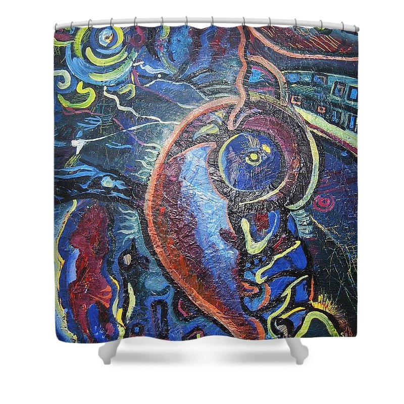 Abstract Contemporary Home Blue Oil Canvas Board Shower Curtain featuring the painting Thinking Of Home by Seon-Jeong Kim