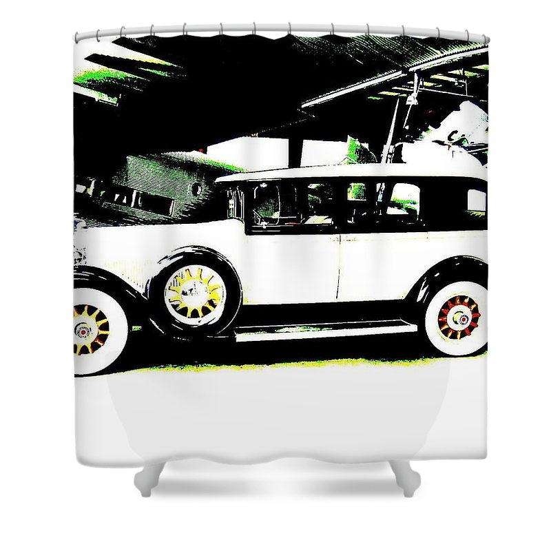 Packard Shower Curtain featuring the digital art Thirties Packard Limo by Will Borden