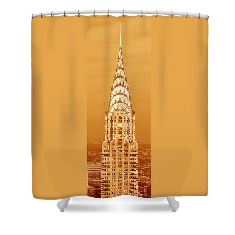 Photography Shower Curtain featuring the photograph Chrysler Building At Sunset by Panoramic Images