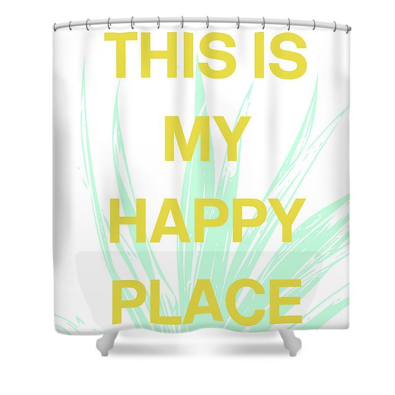 Succulent Shower Curtain Featuring The Digital Art This Is My Happy Place By Linda