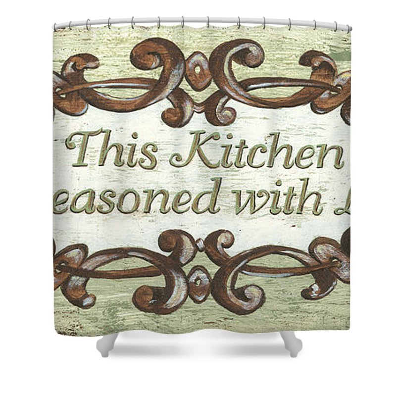 Sign Shower Curtain featuring the painting This Kitchen by Debbie DeWitt