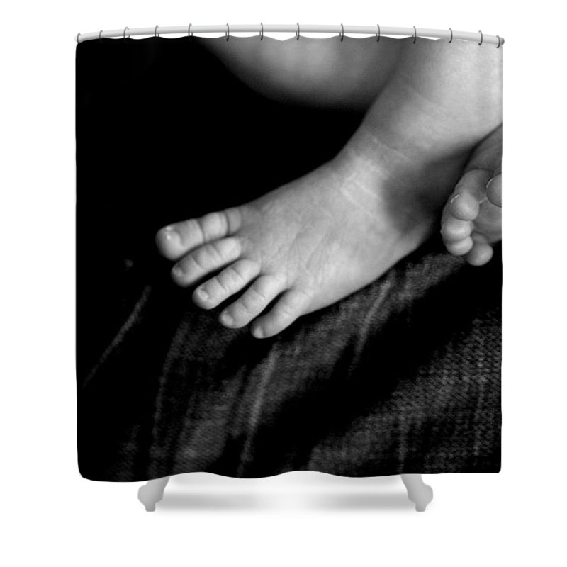 Baby Shower Curtain featuring the photograph This Little Piggy... by Angela Rath