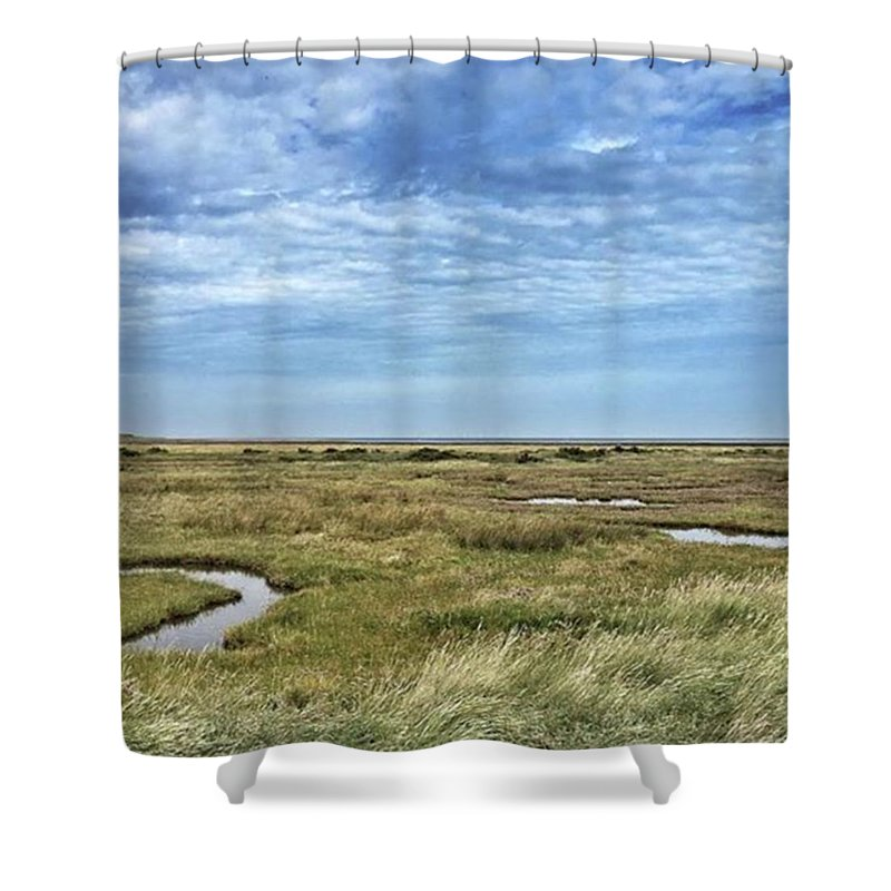 Shower Curtain featuring the photograph Thornham Marshes, Norfolk by John Edwards